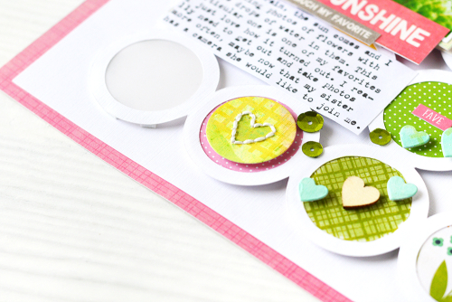 Scrapbook layout using Jillibean Soup's Spoonful of Soul collection, Rainbow Roux collection, All About Dots paper pad, All About Plaid paper pad, You Make Miso Happy coordinating stickers, Oh Snap tag, shaker fillers, Watts Up stamp and die set, and a cut file.  A creative way to add color to a layout.  Jillibean Soup scrapbooker.  #jillibeansoup #scrapbooker #scrapbooklayout #spoonfulofsoul #rainbowroux #allaboutplaidpaperpad #allaboutdotspaperpad #wattsup #stampanddieset #cutfile