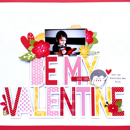 Valentine scrapbook layout using Jillibean Soup's All About Dots paper pad, All About Plaid paper pad, You Make Miso Happy patterned paper, Rainbow Roux patterned paper and pea pod parts, and a cut file.  Valentine Layout.  Jillibean Soup scrapbooker.  #jillibeansoup #scrapbooker #scrapbooklayout #valentine #cutfile #allaboutdotspaperpad #allaboutplaidpaperpad #rainbowroux #youmakemisohappy