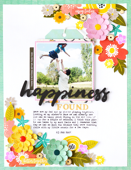 Scrapbook layout using Jillibean Soup's Spoonful of Soul collection, Rainbow Roux collection, Garden Harvest collection, All About Dots paper pad, tags, wood veneer shaker fillers, Mason Jar stamp and die set, Latte Love stamp and die set, and a cut file.  Focusing on flowers.  Jilllibean Soup scrapbooking.  #jillibeansoup #scrapbooker #scrapbooklayout #spoonfulofsoul #rainbowroux #gardenharvest #stampanddieset #cutfile #flowers