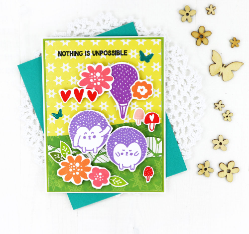 Card created using Jillibean Soup's Rainbow Roux stamps, You Make Miso Happy patterned paper, and Garden Harvest epoxy stickers.  Creating a card scene.  Jillibean Soup cardmaking.  #jillibeansoup #cardmaking #cards #scene #rainbowroux #stamp #youmakemisohappy #gardenharvest