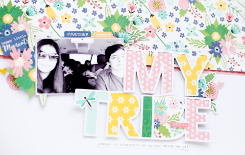 Scrapbook layout using Jillibean Soup's cut files, Bohemian Brew puffy stickers, and the You Make Miso Happy collection including patterned paper, pea pod parts, epoxy shapes, and coordinating stickers.  Jillibean Soup cut files you will love.  Jillibean Soup scrapbooker.  #jillibeansoup #scrapbooker #layotu #youmakemisohappy #bohemianbrew #cutfiles