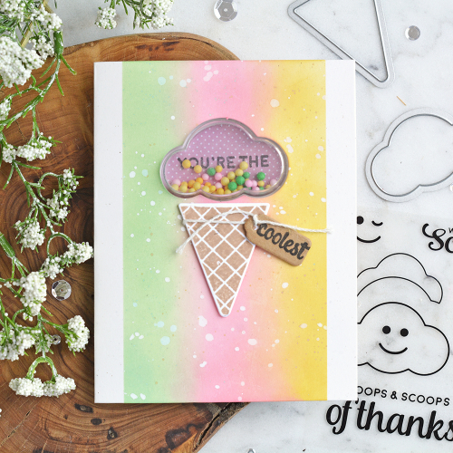 Stamped card using Jillibean Soup's Ice Cream stamp and die set, cloud shaker and All About Dots paper pad.  How to stamp on a card.  Jillibean Soup cardmaking.  #jillibeansoup #cardmaking #cards #stamp #icecream #stampanddieset #cloud #allaboutdotspaperpad