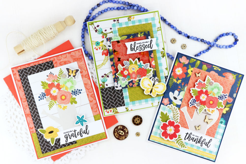 Cards using Jillibean Soup's wood veneer and sequin jewel warm mix shaker fillers and the Garden Harvest collection including patterned papers, Pea Pod Parts, clear stamps and coordinating stickers.  Fall card set.  Jillibean Soup cardmaking.  #jillibeansoup #cards #cardmaking #fall #cardset #gardenharvest