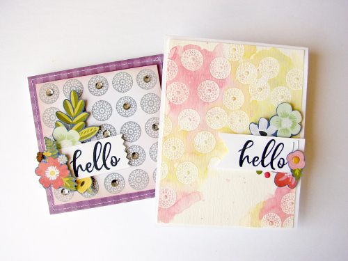 Stamped card using Jillibean Soup's Garden Harvest patterned paper, Rainbow Roux stamps, and adhesive sequins.  One stamp two ways cards.  Jillibean Soup cardmaking.  #jillibeansoup #cards #cardmaking #stamp #gardenharvest #rainbowroux