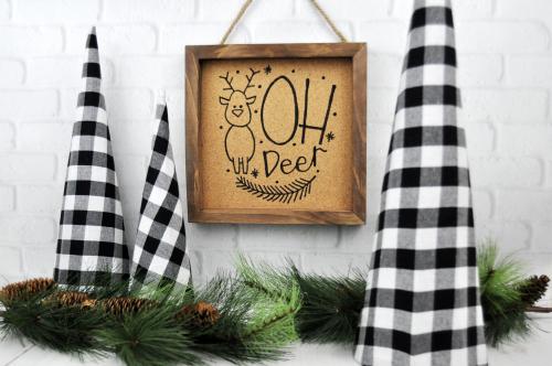 """""""Oh Deer"""" cork Christmas Sign. #christmascraft #jillibeansoup #mixthemedia"""