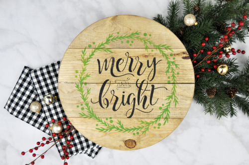 """""""Merry and Bright"""" Christmas Trivet. #jillibeansoup #christmascraft #christmasgift #jillibeansoup"""
