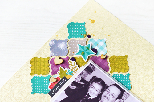 Scrapbook layout using Jillibean Soup's lattice cut file, wood veneer shakers, All About Dots paper pad, and the Garden Harvest collection including patterned paper, pea pod parts, coordinating stickers, and epoxy stickers.  How to use small die cut shapes on a layout.  Jillibean Soup scrapbooker.  #jillibeansoup #scrapbooker #scrapbooklayout #cutfile #lattice #gardenharvest