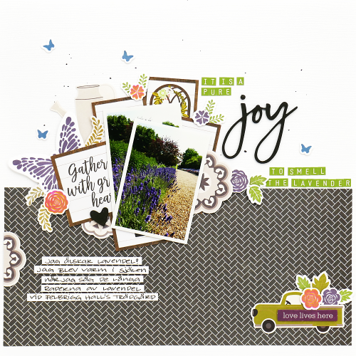 Scrapbook layout using Jillibean Soup's green apple mini alphas, Thankful stamp and die set, and the Garden Harvest collection including patterned paper, pea pod parts, and foam stickers.  How to use a stamp and die set on a scrapbooking layout.  Jilllibean Soup scrapbooker.  #jillibeansoup #scrapbooker #scrapbooklayout #gardenharvest #thankful #stampanddieset