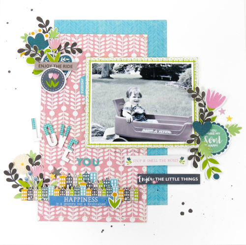Scrapbook layout using Jillibean Soup's Alphabean stickers, Healthy Hello stamp and the Spoonful of Soul collection including patterned paper, pea pod parts and coordinating stickers.  Jillibean Soup Guest Designer.  Jillibean Soup scrapbooker. #jillibeansoup #scrapbooker #scrapbooklayout #guestdesigner #spoonfulofsoul #healthyhellosoup #alphabeans