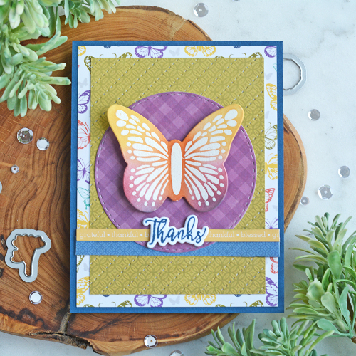Stamped card using Jillibean Soup's Garden Harvest patterned paper and stamp and die sets including Hug in a Mug, Barn Door, Thankful Butterfly, and Jar Goodness.  Stamped fall cards.  Jillibean Soup cardmaking.  #jillibeansoup #cards #cardmaking #stamp #gardenharvest #stampanddieset #fall