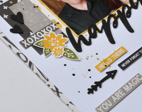 Scrapbook layout using Jillibean Soup's Rainbow Roux collection including patterned paper, foam stickers, and pea pod parts.  Jillibean Soup Guest Designer Karyn Schultz.  Jillibean Soup scrapbooker.  #jillibeansoup #scrapbooklayout #scrapbooker #guestdesigner #karynschultz #rainbowroux