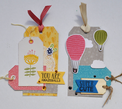 Tags using Jillibean Soup's sequins and Rainbow Roux collection including patterned paper, stamps, pea pod parts, and epoxy stickers.  Jillibean Soup Guest Designer Karyn Schultz.  Jillibean Soup Tags.  #jilllibeansoup #tags #guestdesigner #karynschultz #rainbowroux #sequins