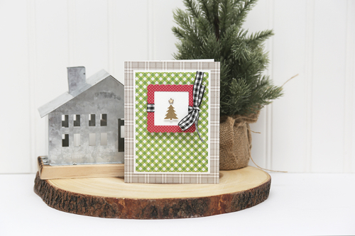 Card using Jillibean Soup's All About Dots paper pad, All About Plaid paper pad, stamp and die sets, and shaker fillers.  Christmas Card Set with a Family Photo.  Jillibean Soup cardmaking.  #jillibeansoup #cardmaking #cards #allaboutodotspaperpad #allaboutplaidpaperpad #christmascardset #familyphoto