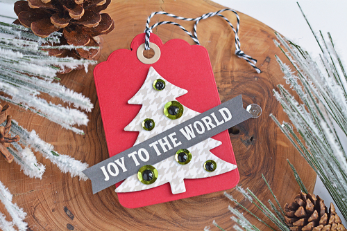 Tags using Jillibean Soup's Winter Wishes stamp and die set, sequins, and Spoonful of Soul patterned paper.  Christmas Gift Tag Set.  Jillibean Soup tags.  #jillibeansoup #tags #christmas #stampanddieset #spoonfulofsoul