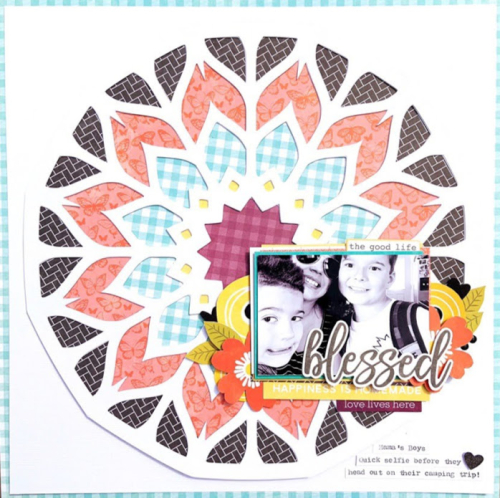 Scrapbook layout using Jillibean Soup's Rainbow Roux foam stickers, You Make Miso Happy cardstock stickers, Mandala cut file and the Garden Harvest collection including Bite Sized Bits, Epoxy Stickers, and Pea Pod Parts.  How to add dimesion to an open design cut file.  Jillibean Soup scrapbooker.  #jillibeansoup #scrapbooker #scrapbooklayout #mandala #cutfile #dimension #gardenharvest #rainbowroux #youmakemisohappy