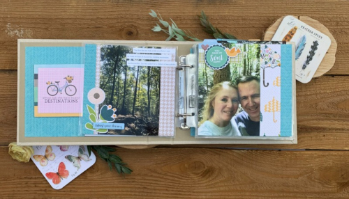 Mini album using wood tags, alphabeans, All About Dots paper pad, and the Spoonful of Soul collection including patterned paper, pea pod parts, coordinating stickers, washi sheets, and epoxy stickers.  Anniversary scrapbooking album.  Jillibean Soup Mini Album.  #jillibeansoup #scrapbooker #minialbum #spoonfulofsoul #alphabeans #tag #allaboutdotspaperpad