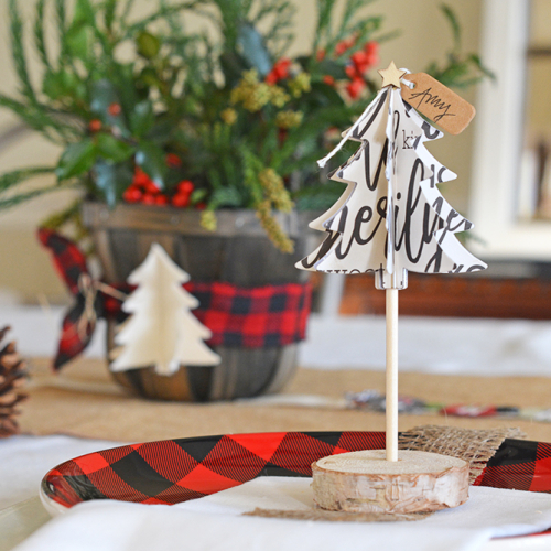 Home decor project using Jillibean Soup's Winter Wishes stamp and die set, Garden Harvest patterned paper, wood veneer stars and jewelry kraft tags.  Christmas Table Decorations.  Jillibean Soup Projects.  #jillibeansoup #projects #homedecor #gardenharvest #christmastabledecorations #christmas