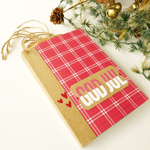 Mini Album using Jillibean Soup's All About Plaid paper pad, foil tags, Rainbow Roux epoxy stickers, alphabeans, A Little Pickup stamp and die set, and a cut file.  Christmas Mini Album.  Jillibean Soup Mini Album.  #jillibeansoup #minialbum #allaboutplaidpaperpad #tags #rainbowroux #alphabeans #stampanddieset #cutfile #christmas