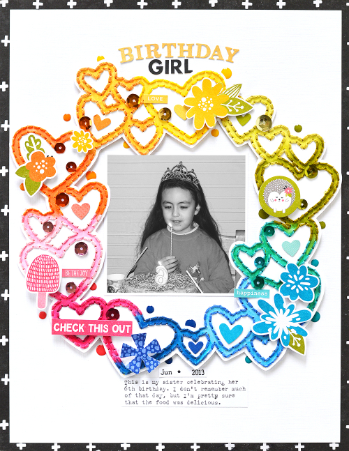 Scrapbook layout using Jillibean Soup's Rainbow Roux, You Make Miso Happy, Spoonful of Soul, and a cut file.  How to stitch on a layout.  Jillibean Soup scrapbooker.  #jillibeansoup #scrapbooker #scrapbooklayout #stitch #rainbowroux #spoonfulofsoul #youmakemisohappy #cutfile