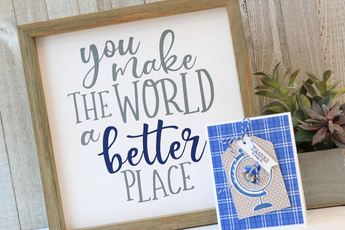 Mix the media home decor project using Jillibean Soup's cut file, Globe stamp and die set, Flower Bloom stamp and die set, All About Dots paper pad, All About Plaid paper pad, Shape Shaker heart tag and insert, and shaker fillers.  Thinking of You Mix the Media.  Jillibean Soup Mix the Media.  #jillibeansoup #mixthemedia #homedecor #project #cutfile #stampanddieset #allaboutplaidpaperpad #allaboutdotspaperpad #shapeshaker #thinkingofyou