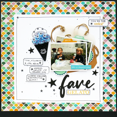 Scrapbook layout using Jillibean Soup's Rainbow Roux foam stickers, ice cream stamp and die set, cloud shaker, foam ball shaker fillers, foil tag and the Spoonful of Soul collection including patterned paper, cardstock stickers, pea pod parts and foam stickers.  How to add a shaker to a scrapbooking layout.  Jillibean Soup scrapbooker.  #jillibeansoup #scrapbooker #scrapbooklayout #spoonfulofsoul #shaker #rainbowroux #icecream #stampanddieset