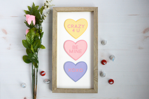 Valentines home decor mix the media project using Jillibean Soup's 8x15 rustic white frame and a cut file.  Mix the Media Project with Silhouette Shapes.  Jillibean Soup Mix the Media.  #jillibeansoup #mixthemedia #homedecor #project #valentine #rusticwhiteframe #cutfile