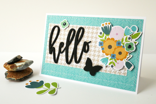 Card created based from a sketch using Jillibean Soup's Garden Harvest foam stickers and the Spoonful of Soul collection including patterned paper, foam stickers, epoxy stickers, pea pod parts, and clear stamps.  How to use a scrapbooking sketch for a layout and a card.  Jillibean Soup cardmaker.  #jillibeansoup #cards #cardmaker #sketch #spoonfulofsoul