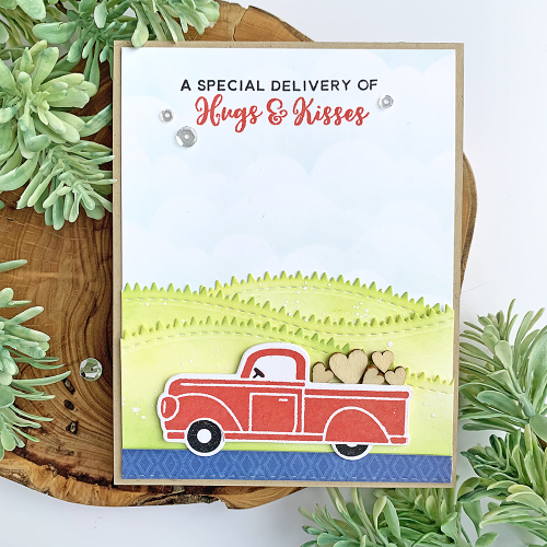 Stamped valentine card using Jillibean Soup's A Little Pickup stamp and die, You Make Miso Happy patterned paper and wood veneer shaker fillers.  Valentine Card Set.  Jillibean Soup cardmaking.  #jillibeansoup #card #cardmaking #stamp #valentine #alittlepickup #youmakemisohappy