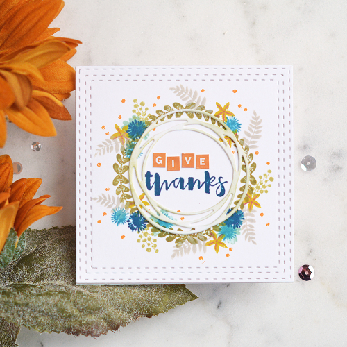 Stamped card using Jillibean Soup's orange mini alpha stickers and clear stamp sets including Garden Harvest, Bowl of Dreams, and Spoonful of Soul.  Fall card set.  Jillibean Soup cardmaking.  #jillibeansoup #stamped #cards #cardmaking #fall #gardenharvest #bowlofdreams #spoonfulofsoul