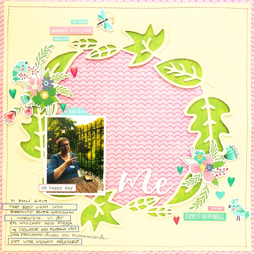 Scrapbook layout using Jillibean Soup's cut file and You Make Miso Happy collection including patterned paper, pea pod parts, epoxy stickers, coordinating label stickers and foam stickers.  How to layer a cut file on a scrapbooking layout.  Jillibean Soup scrapbooker.  #jillibeansoup #scrapbooklayout #scrapbooker #youmakemisohappy #cutfile #layering
