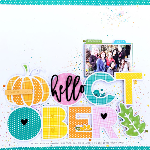 Scrapbook layout using Jillibean Soups, All About Plaid paper pad, All About Dots paper pad, Garden Harvest foam and epoxy stickers, Rainbow Roux pea pod parts, You Make Miso Happy cardstock stickers, Spoonful of Soul cardstock stickers, and a cut file.  Using fall colors on a scrapbooking layout.  Jilllibean Soup scrapbooker.  #jillibeansoup #scrapbooklayout #scrapbooker #allaboutplaidpaperpad #allaboutdotspaperpad #gardenharvest #rainbowroux #youmakemisohappy #spoonfulofsoul #cutfile #fall