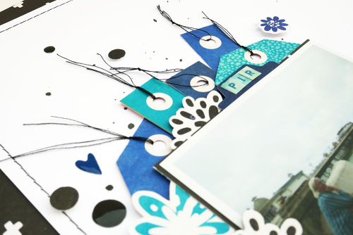 Scrapbook layout using Jillibean Soup's Rainbow Roux collection including patterned paper, pea pod parts, epoxy stickers, and coordinating label stickers.  Black and white scrapbook layout.  Jillibean Soup scrapbooker.  #jillibeansoup #scrapbooker #scrapbooklayout #blackandwhite #rainbowroux