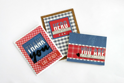 Veteran Card Trio Using Jillibean Soup's Rainbow Roux patterned paper and foam stickers, 2 Cool for School patterned paper, You Make Miso Happy patterned paper, All About Dots paper pad, All About Plaid paper pad and Alphabean stickers.  Veteran Card Trio Set.  Jillibean Soup cardmaking.  #jillibeansoup #cards #cardmaking #rainbowroux #allaboutdotspaperpad #allaboutplaidpaperpad #2coolforschool #youmakemisohappy #veteran #giveback2020