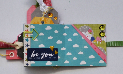 Mini album using Jillibean Soup's sequins and Rainbow Roux collection including patterned paper, stamps, pea pod parts, and epoxy stickers.  Jillibean Soup Guest Designer Karyn Schultz.  Jillibean Soup Mini Album.  #jilllibeansoup #minialbum #guestdesigner #karynschultz #rainbowroux #sequins