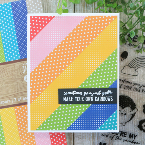 Cards using Jillibean Soup's Rainbow Roux stamp set and All About Dots paper pad.  Cards with Rainbows.  Jillibean Soup cardmaking.  #jillibeansoup #cards #cardmaking #rainbowroux #allaboutdotspaperpad #giveback2020
