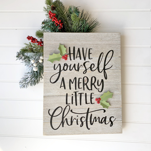 Christmas home decor mix the media project using Jillibean Soup's Soup Staples II patterned paper, 12x 16 whitewashed panel, and a cut file.  Christmas Mix the Media Project.  Jillibean Soup Mix the Media.  #jillibeansoup #project #homedecor #mixthemedia #christmas #cutfile