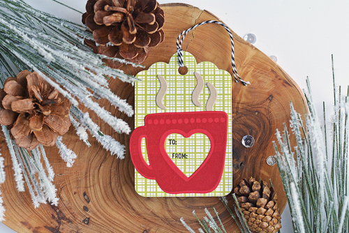 Tag using Jillibean Soup's Hug in a Mug stamp and die set and Spoonful of Soul patterned paper.  Christmas Gift Tag Set.  Jillibean Soup tags.  #jillibeansoup #tags #christmas #stampanddieset #spoonfulofsoul