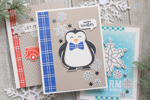 Card using Jillibean Soup's stamp and die sets, All About Dots paper pad, and All About Plaid paper pad.  Winter Card Set.  Jillibean Soup cardmaking.  #jillibeansoup #cards #cardmaking #stampanddieset #allaboutdotspaperpad #allaboutplaidpaperpad