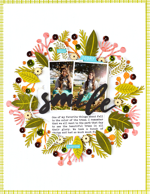 Scrapbook layout using Jillibean Soup's Garden Harvest patterned paper and pea pod parts, Spoonful of Soul patterned paper, All About Dots paper pad, You Make Miso Happy coordinating stickers, Rainbow Roux coordinating stickers, Oh Snap tag, shaker fillers, and a cut file.  Using a Silhouette Cut File on a Scrapbooking Layout.  Jillibean Soup scrapbooker.  #jillibeansoup #scrapbooker #scrapbooklayout #cutfile #gardenharvest #spoonfulofsoul #youmakemisohappy #rainbowroux