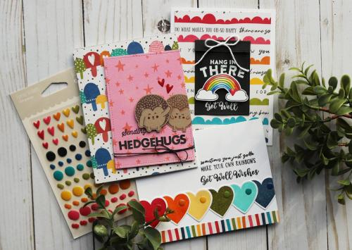 Card using Jillibean Soup's Rainbow Roux collection.  Get Well Soon Card Set.  Jillibean Soup cardmaking.  #jillibeansoup #cards #cardmaking #rainbowroux #cardset #gellwellsoon