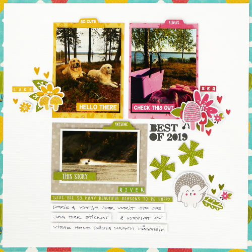 Scrapbook layout using Jillibean Soup's mini alphas and the Rainbow Roux collection including patterned paper, pea pod parts, epoxy stickers, and coordinating label stickers.  A Look Back Scrapbooking Layout.  Jillibean Soup scrapbooker.  #jillibeansoup #scrapbooker #scrapbooklayout #rainbowroux #minialphas