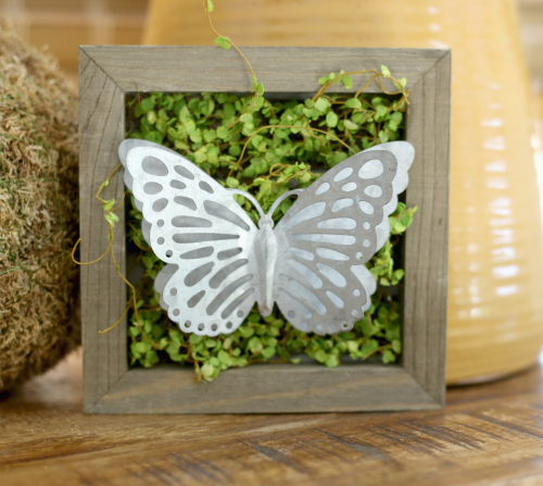 Galvanized Butterfly in Moss in a Mix the Media plank by Jillibean Soup.