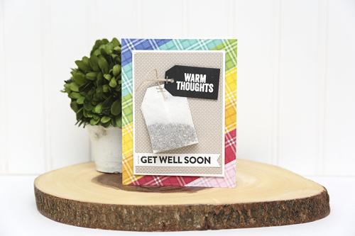 Card using Jillibean Soup's All About Plaid paper pad, All About Dots paper pad and the Get Well stamp set.  Get Well Card Set.  Jillibean Soup cardmaking.  #jillibeansoup #cards #cardmaking #allaboutplaidpaperpad #allaboutdotspaperpad #getwell #cardset