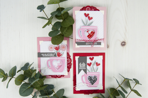 Valentine Card Stamped Card Set by Jen Gallacher for Jillibean Soup. #jillibeansoup #valentinesday #stamping #cardmaker #jengallacher
