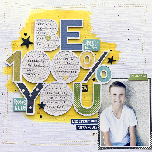 Scrapbook layout using Jillibean Soup's Rainbow Roux collection, Soup Staples II patterned paper, You Make Miso Happy Collection, Spoonful of Soul collection and a cut file.  What I See In You Layout.  Jillibean Soup scrapbooker.  #jillibeansoup #scrapbooker #scrapbooklayout #cutfile #rainbowroux #spoonfulofsoul #youmakemisohappy