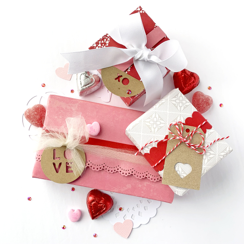 Valentine project using Jillibean Soup's Bohemian Brew patterned paper, Bowl of Dreams patterned paper and kraft circle tags.  Valentine Gift Boxes.  Jillibean Soup Projects.  #jillibeansoup #project #valentine #giftboxes #bohemianbrew #bowlofdreams