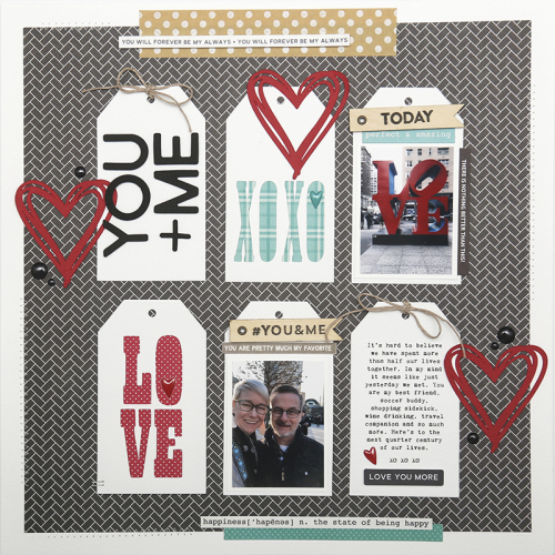 Valentine scrapbook layout using Jillibean Soup's Garden Harvest collection, All About Plaid paper pad, All About Dots paper pad, You Make Miso Happy collection, Rainbow Roux collection, Healthy Hello stamps, Spicy Social Soup stamps, and cut files.  Valentine Layout using Heart Shapes.  Jillibean Soup scrapbooker.  #jillibeansoup #scrapbooker #scrapbooklayout #valentine #heartshapes #gardenharvest #allaboutplaidpaperpad #allaboutdotspaperpad #youmakemisohappy #rainbowroux #healthyhello #spicysocialsoup #cutfile