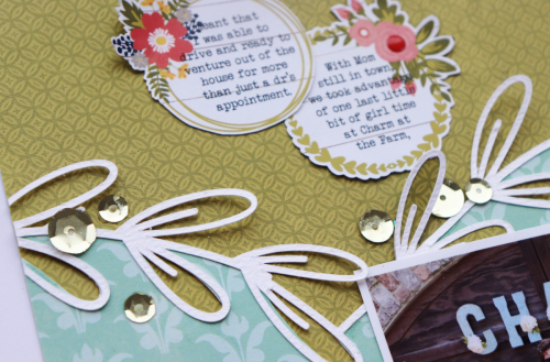Scrapbook layout using Jillibean Soup's Bohemian Brew collection, Garden Harvest collection, shaker fillers, and a cut file.  Adding Sparkle to a Layout.   Jilllibean Soup scrapbooker.  #jillibeansoup #scrapbooker #scrapbooklayout #gardenharvest #bohemianbrew #cutfile #sparkle