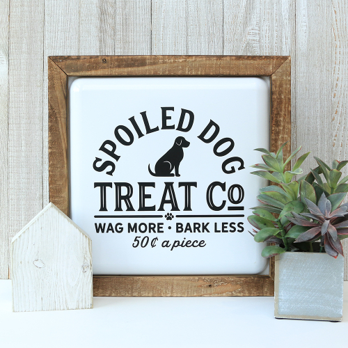 Home decor mix the media project using Jillibean Soup's 12x12 rustic frame white and a cut file.  Pet Sitter Mix the Media Gift.  Jillibean Soup Mix the Media.  #jillibeansoup #mixthemedia #homedecor #project #rusticframewhite #cutfile #pet #gift