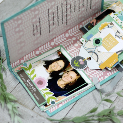 Mini album using Jillibean Soup's cut files and Spoonful of Soul collection including patterned paper, pea pod parts, washi stickers, epoxy stickers, and coordinating stickers.  Mini Album.  Jillibean Soup Mini Album.  #jillibeansoup #minialbum #spoonfulofsoul #cutfile